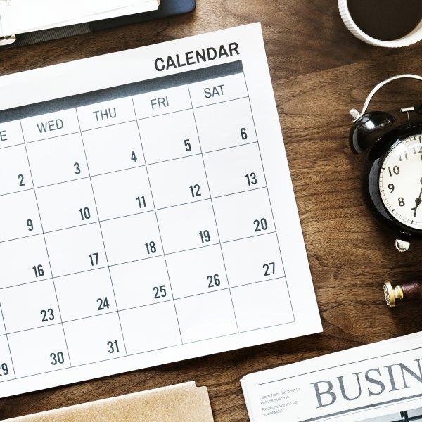 Flat lay of business agenda