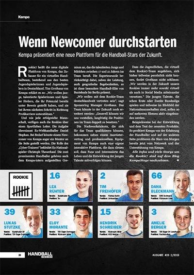 Handball Inside 2/2019 - Über die Rookie7 - Wenn Newcomer durchstarten Handball Inside 2/2019