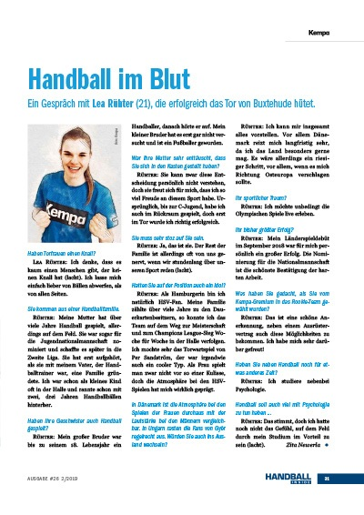 Handball Inside 2/2019 - Interview Lea Rühter - Handball im Blut Handball Inside 2/2019