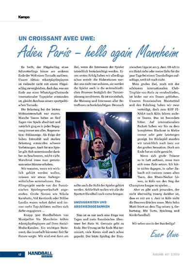 Handball Inside #27 3/2019 - Kolumne Uwe Gensheimer - Adieu Paris - hello again Mannheim
