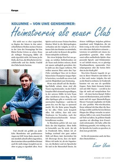 Handball Inside #29 5/2019 - Kolumne Uwe Gensheimer - Heimatverein als neuer Club