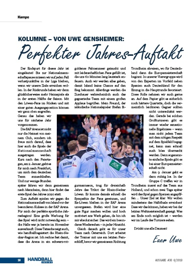 Handball Inside #30 6/2019 - Kolumne Uwe Gensheimer - Perfekter Jahresauftakt