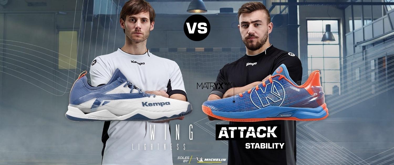 Uwe Gensheimer und Jannik Kohlbacher mit den neuen Kempa Handball Schuhen WING LITE 2.0 udn ATTACK ONE 2.0 - WING vs ATTACK