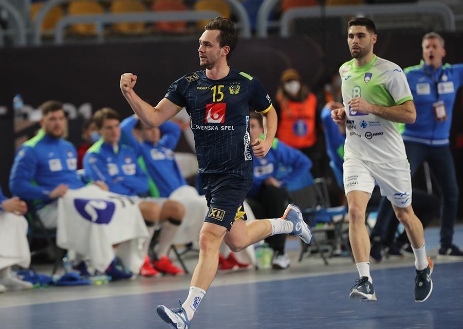 Hampus Wanne im Kempa WING Handballschuh für die schwedische Handball Nationalmannschaft bei der Handball WM 2021 in Ägypten